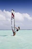 girl windsurfer stock image